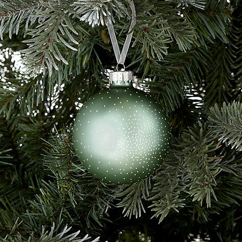 Buy John Lewis Croft Collection Dot Bauble, Green/White Online at johnlewis.com