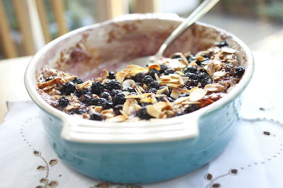 rhubarb blueberry and almond baked oatmeal