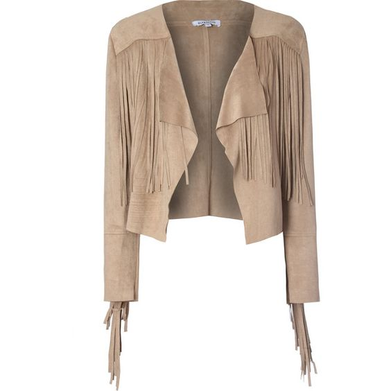 Sand Suedette Cropped Fringed Jacket (92 CAD) ❤ liked on Polyvore featuring outerwear, jackets, veste, brown, long sleeve crop jacket, brown jacket, cropped jacket, summer jacket and brown fringe jacket