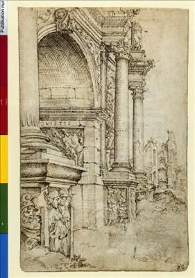 , Arch of Constantine, Rome, Italy, Architectural Drawing ...