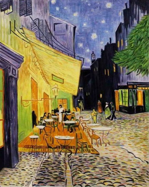Caféterrasse am Abend (1888) Öl auf Leinwand, 81cm × 65,5 cm Original im Kröller-Müller Museum, Otterlo (Niederlande) von Vincent van Gogh - Reproduktion von Chinamaler