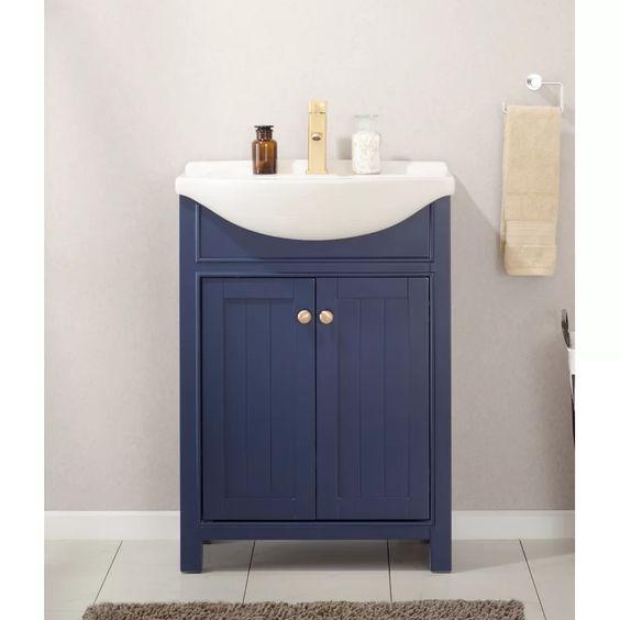 24 Tennant Brand Aruzza Small Slim Narrow Navy Blue Bathroom Vanity 2822 V24nb Blue Bathroom Vanity Narrow Bathroom Vanities Navy Blue Bathrooms