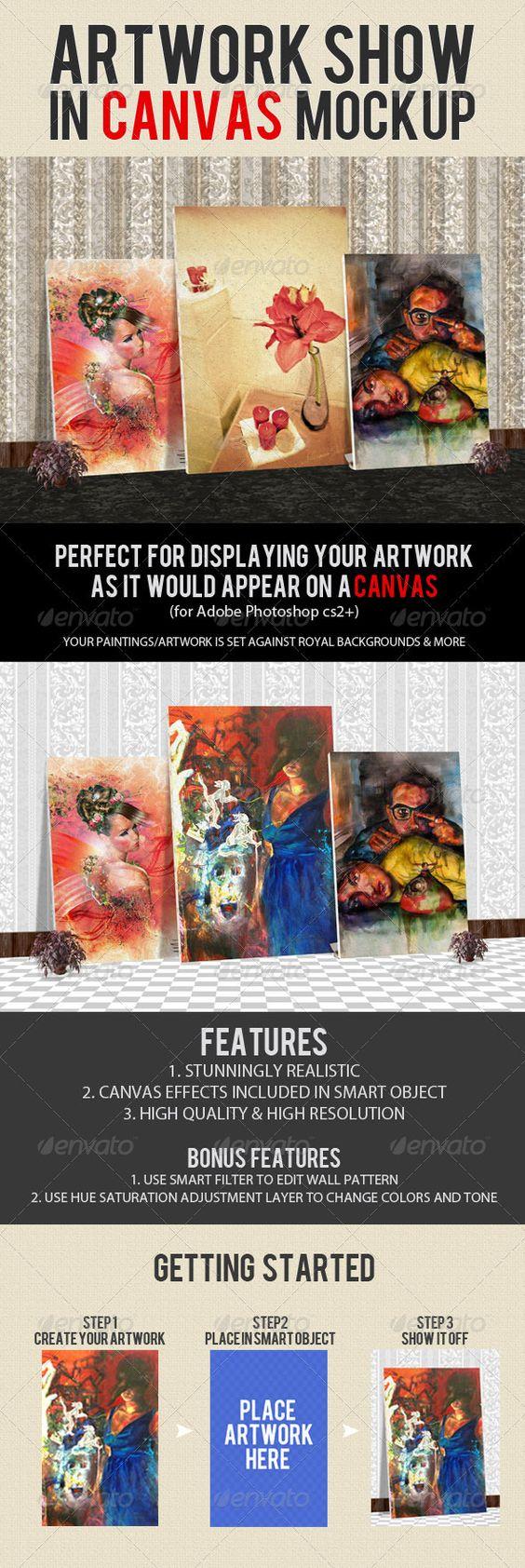 Artwork Show Mockup On Canvas