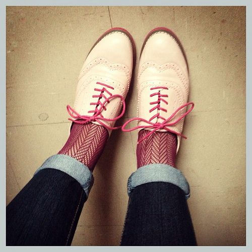 Pink brogues and rolled up skinnies