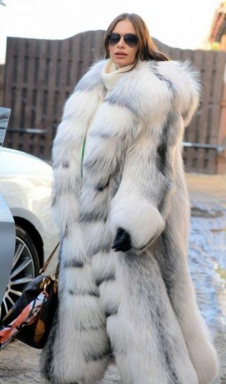 Amazing Real Arctic Fox Long Fur Coat, White Fox Fur Coat Outfit