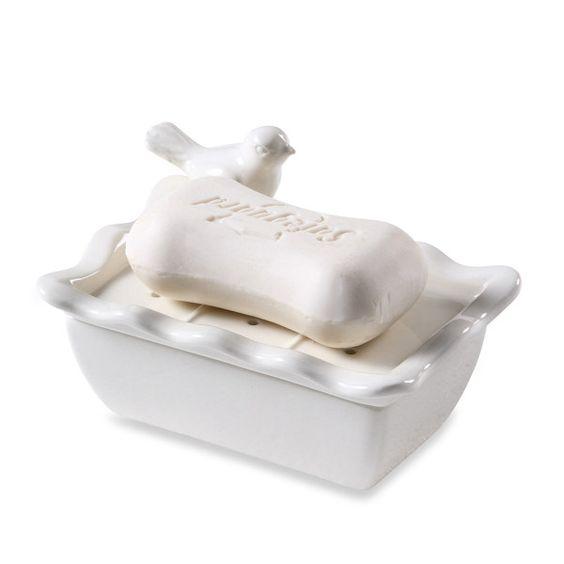 White Ceramic Soap Dish With Bird Design Bed Bath