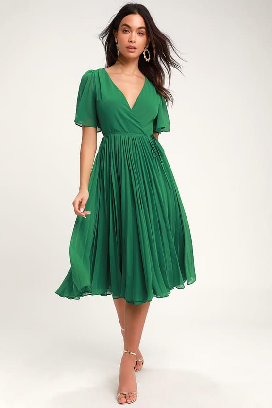 Pleats to Meet You Green Pleated Midi Wrap Dress#dress #green #meet #midi #pleated #pleats #wrap