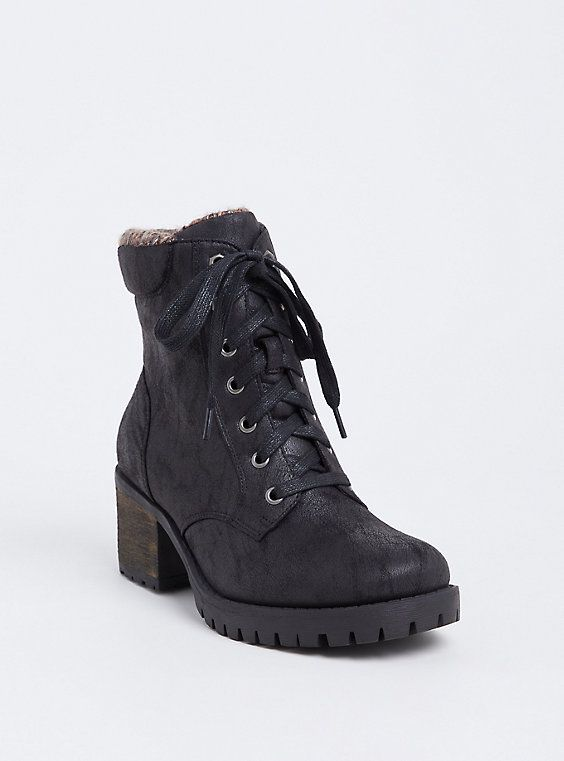 Wide Width Black Faux Leather Sweater Trimmed Hiker Boot