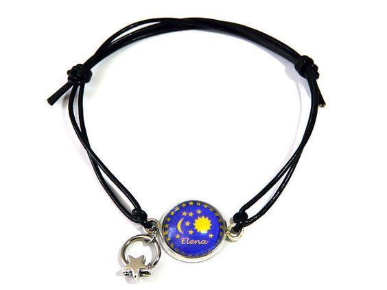Namens-Armband Sonne Mond und Sterne von csoMunich auf Etsy