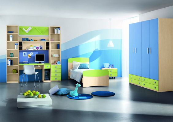furniture, Bedroom Furniture For Kids Ideas With Large Wardrobe Design With Green Chest Of Drawer With Single Bed For Kids With Pendant Lamp With Studying Desk And Bookshelves Design Ideas And With Blue Wall Design: Fascinating Bedroom Furniture for Kids