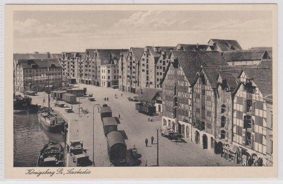 Tolle AK: Lastadie in Königsberg (Ostpreußen) mit Frachtbahn - aus 1941 ANSEHEN…