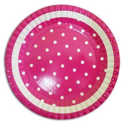 Prato Descartável Poá Pink com Branco http://www.tozaki.com.br/produto/5090/prato+descartavel+poa+pink+com+branco+-+10un