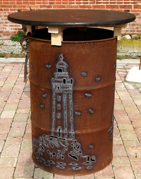 Stehtisch Mit Leuchtturm Motiv Olfass Stehtisch Stehtisch Holz