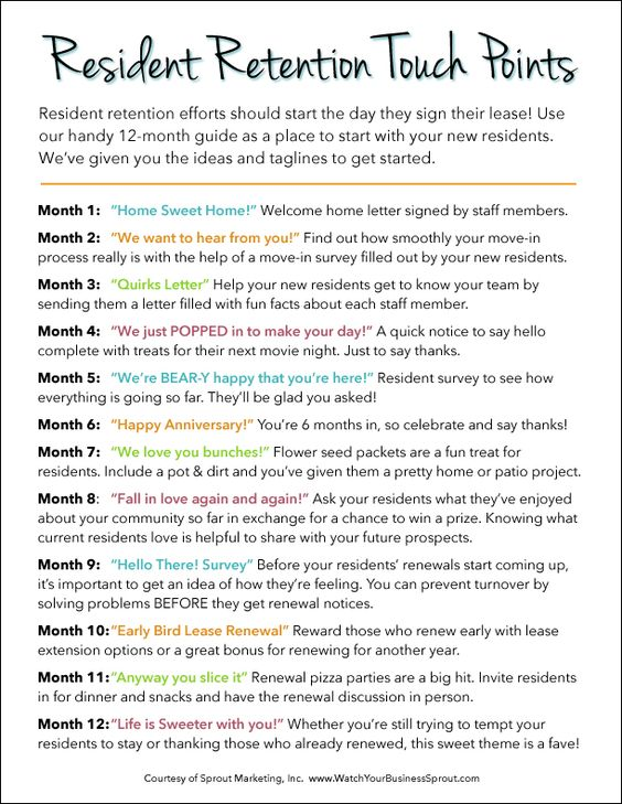 12 Steps to Retaining & Renewing Your Residents   For more awesome multifamily housing freebies check out www.WatchYourBusinessSprout.com.  #TheArtofRenewals   #SproutMarketing