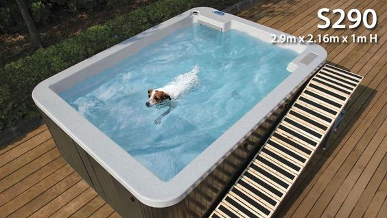 This is a pool your dog can definitely swim in because it's actually for hydrotherapy. If your fur baby is having difficulty with their legs from an injury or getting older they'll be able to get a bit of a workout in here.