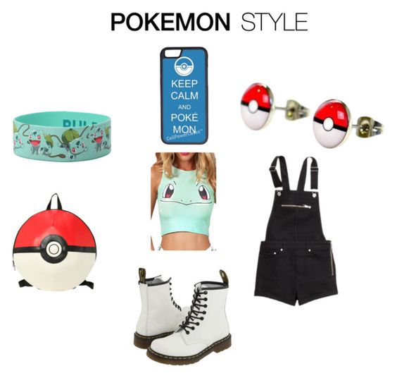 """""""Pokemon Style - Extreme Fan"""" by lizzy13pop ❤ liked on Polyvore featuring H&M, Dr. Martens, CellPowerCases, fundayout and PokemonExtremists"""
