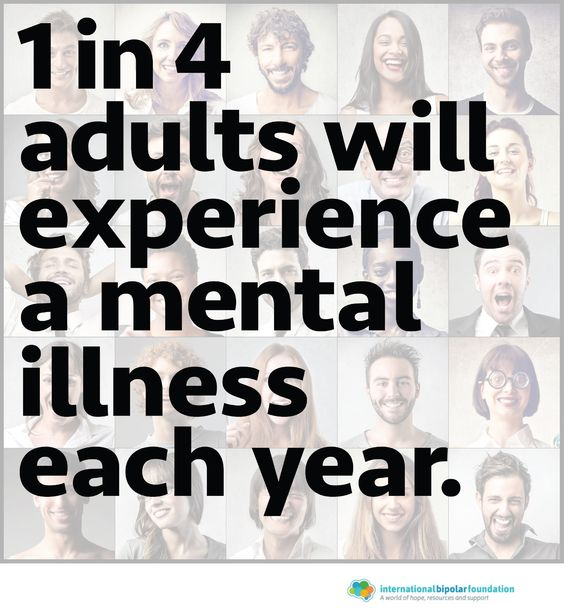 1 in 4 adults will experience a mental illness each year