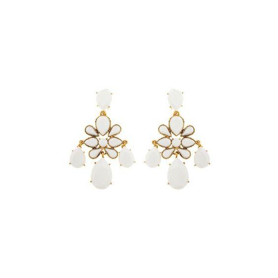 Oscar de la Renta Iconic Chandelier Earring (710 RON) ❤ liked on Polyvore featuring jewelry, earrings, white, clip earrings, swarovski crystal chandelier earrings, nickel free jewelry, white clip on earrings and nickel free earrings