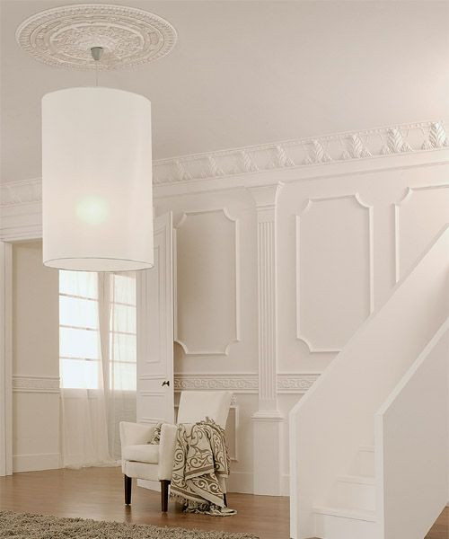 architectural products used large acanthus crown molding with classic i panel molding below wall