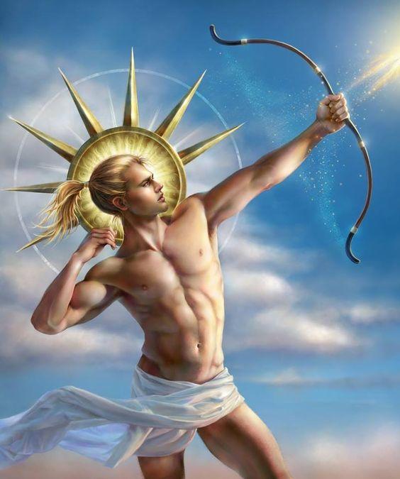 Apolo O deus do sol, da luz, das artes e do arco e flecha, Apolo é filho de Zeus com a ninfa Leto. É irmão gêmeo de Ártemis, a deusa da caça e da lua. Era o deus das profecias, sendo patrono do Oracula de Delfos. Também era líder das 9 musas, deusas das artes. Era temido pelos outros deuses e somente seu pai e sua mãe podiam contê-lo. Era o deus da morte súbita, das pragas e doenças, mas também o deus da cura e da proteção contra as forças malignas. era o deus da Beleza,da Perfeiçãp