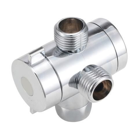 3 Way Adjustable Shower Head Diverter Valve T Adapter Bath Arm
