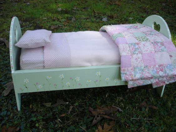 Handmade American Girl sized bed with bedding by IncredibleThreads