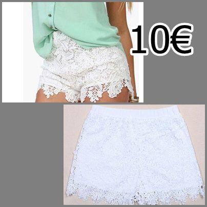 pantalones de encaje en color blanco