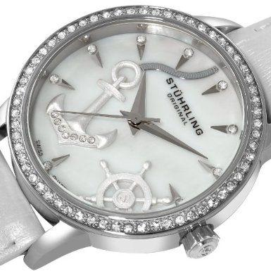 Amazon.com: Stuhrling Original Women's 520.1115P7 Lifestyles Verona Del Mar Swiss Quartz Swarovski Crystal Mother-Of-Pearl White Watch: Watches