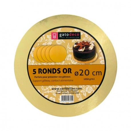 Ronds or 20 cm Gatodéco (x5) pour présenter vos gâteaux et pâtisseries…