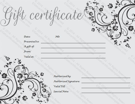 Gift Certificate Template Beautiful Printable Gift Certificate - gift certicate template