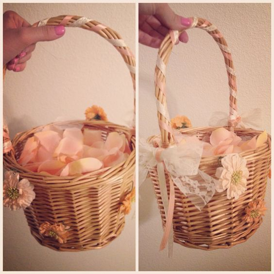 Flower Girl Baskets Diy Pinterest : Diy flower girl basket wedding day