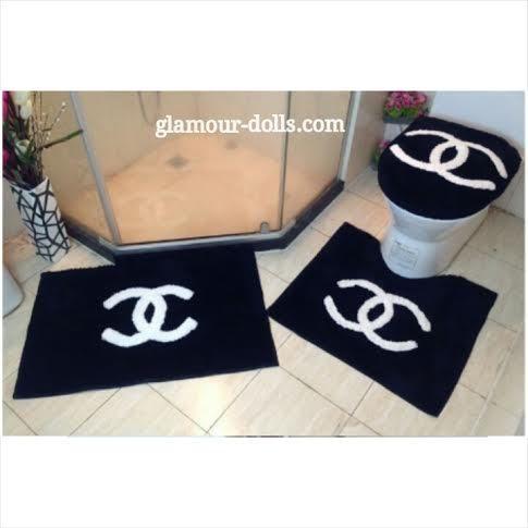 Bathroom rug sets - Chanel Black 3pc Bathroom Rug Set - Glamour Dolls Bathroom Ideas