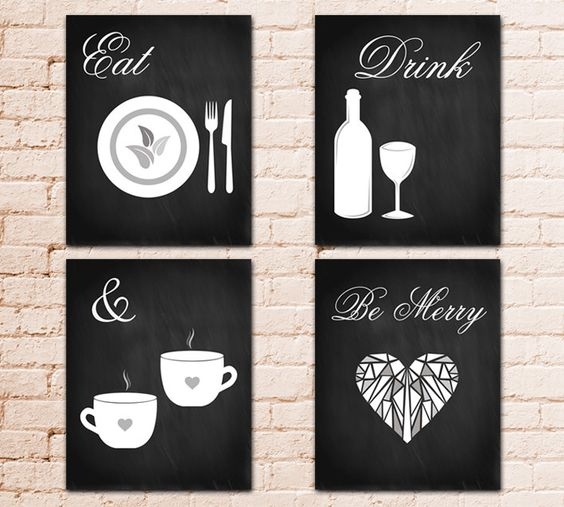 Set of 4 Modern Kitchen Art Printable Poster, Eat Drink Merry, Chalkboard Graphic Design,wall Home Decor Gift,knife fork Coffee glass hearts by MirDesigns on Etsy