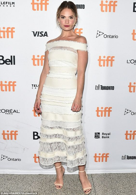 Cinderella goes to the ball: Lily James stole the show at the premiere of The Exception in Canada on Thursday