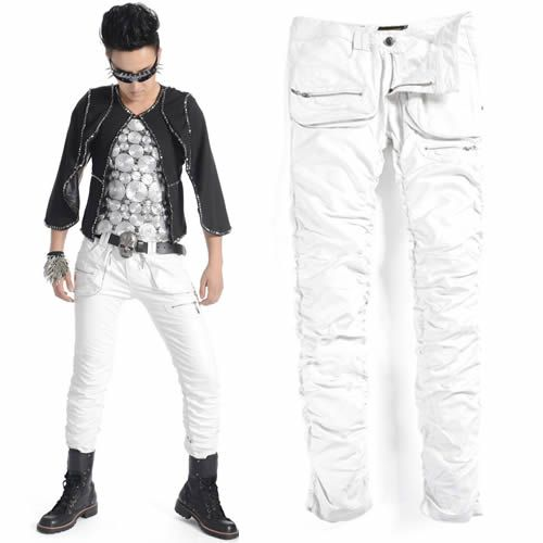 MEN'S STYLE (clothing): Men White Faux Leather Slim Fit Boot Cut Punk Rock Pants Trousers SKU-11404284