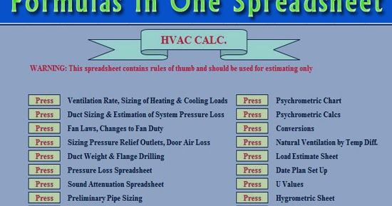 All Hvac Calculation And Formulas In One Spreadsheet In 2020