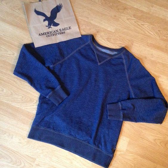 NWOT American Eagle sweatshirt AEO sweatshirt. Super soft. Looks like denim but it's sweatshirt material. No flaws. American Eagle Outfitters Tops Sweatshirts & Hoodies