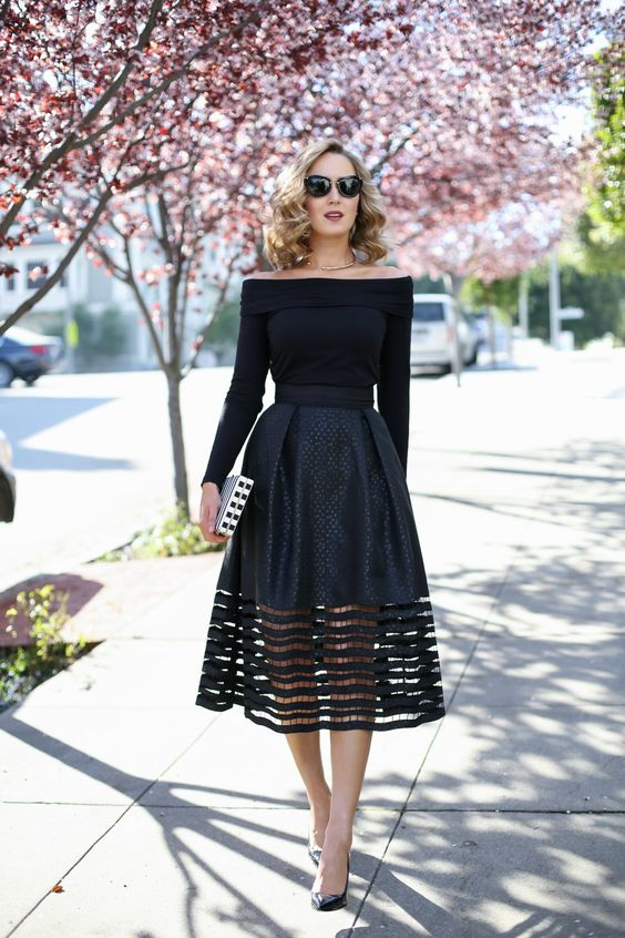 Cut-out Midi Skirt and Off-The-Shoulder Top: