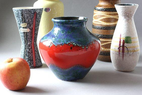 #Scheurich #vase #ceramic #vintage #red #blue #Germany #Keramik  #Boho #Boheme #Keramikvase #Blumenvase #GeschenkFrau #wohnraumformer