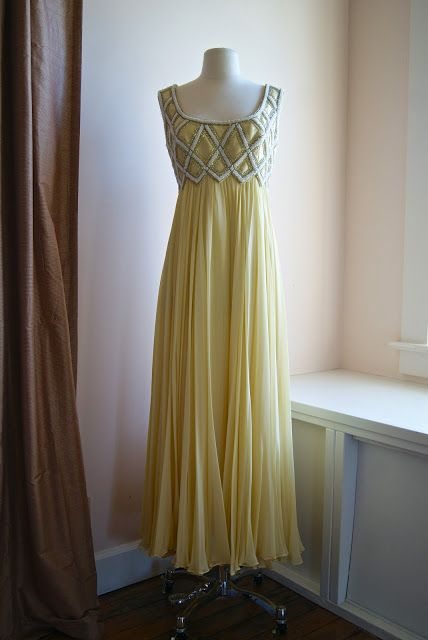 60's multiple layers of silk chiffon evening gown with beaded bodice.