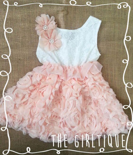 Peach Rosette White Lace Baby Dress - Wedding - Summer Baby Dress ...