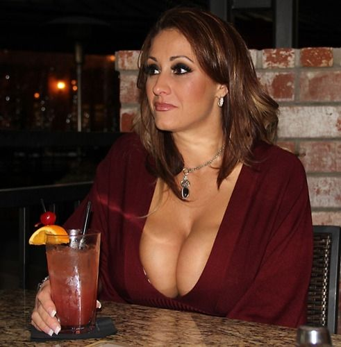 Busty mom showing cleavage in public