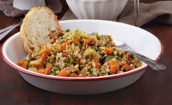 Root Veggie Barley Risotto: barley, carrots, turnips, sweet potatoes ...