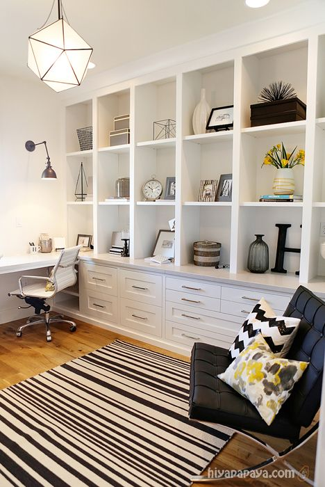 Home office: Perhaps the full-wall shelving unit goes on the wall between the new office and current office? Then the window wall is left without built-ins around the window and the adjoining wall is open for artwork. It would look bigger.