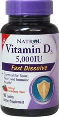 Vitamin D 5000 IU Fast Dissolve  90 Tablets 5000 IU $4.79