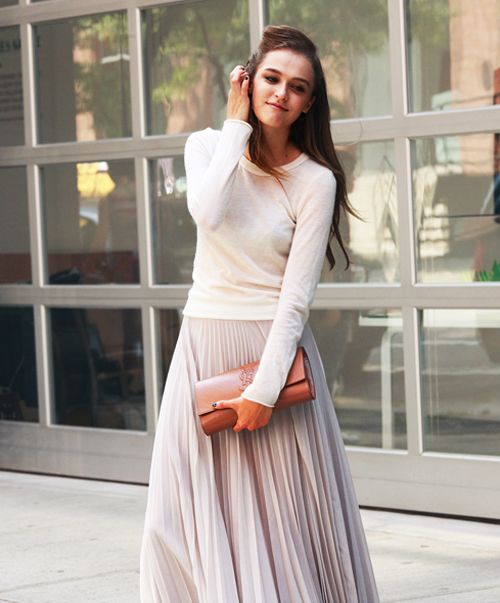 pastel color + pleated maxi