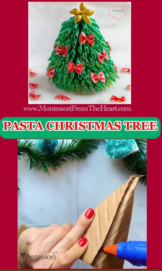 Christmas Tree Pasta Craft In 2020 Simple Christmas Cards Christmas Tree Crafts Pasta Crafts