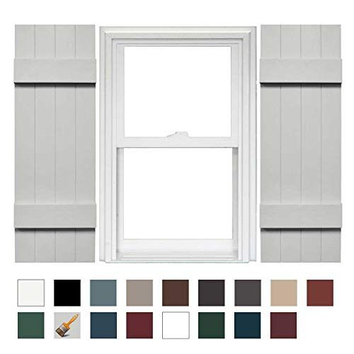Mid America Board N Batten 14 4 Board Joined Vinyl Standard Shutter 1 Pair 14 X 63 030 Paintable Vinyl Shutters Board And Batten Shutters Shutters