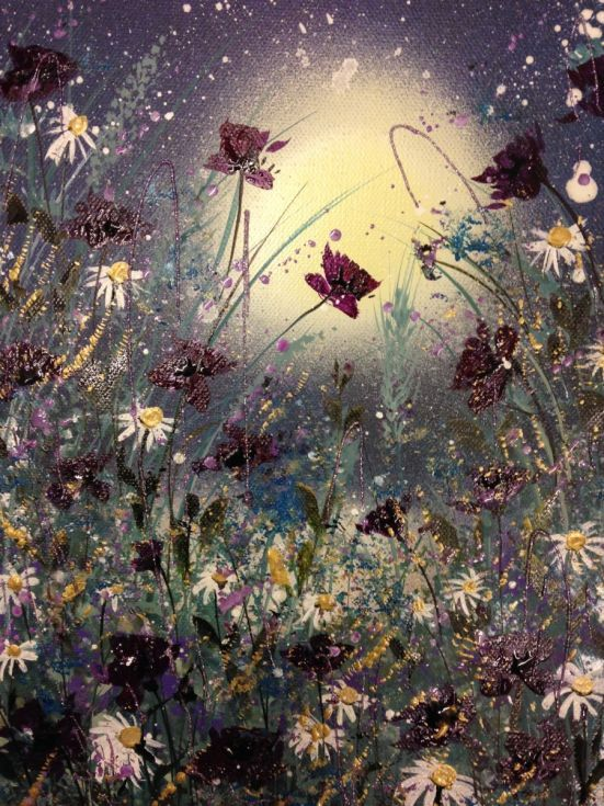 ARTFINDER: In the moonlight by Jane Morgan - This small original acrylic and inks on canvas has all the sparkle and rich colours of my larger paintings. Deep purple poppies and white daisies lit by a fu...