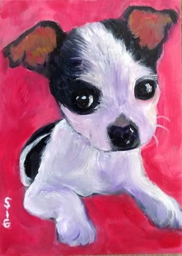 """Daily Paintworks - """"Puppy Love"""" - Original Fine Art for Sale - © Sigrid Victor"""